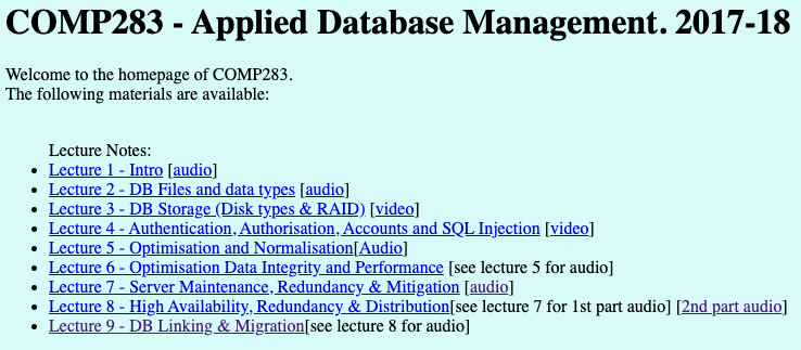 Lecture material, including audio sources